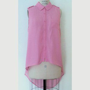 FOREVER 21 PINK HIGH-LOW SLEEVELESS SHIRT L